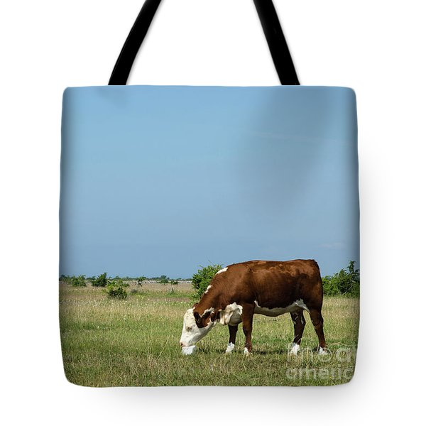 Tote Bag featuring the photograph Cow Licks On A Block Of Salt by Kennerth and Birgitta Kullman