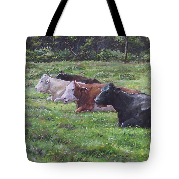Tote Bag featuring the painting Cow Line Up In Field by Martin Davey