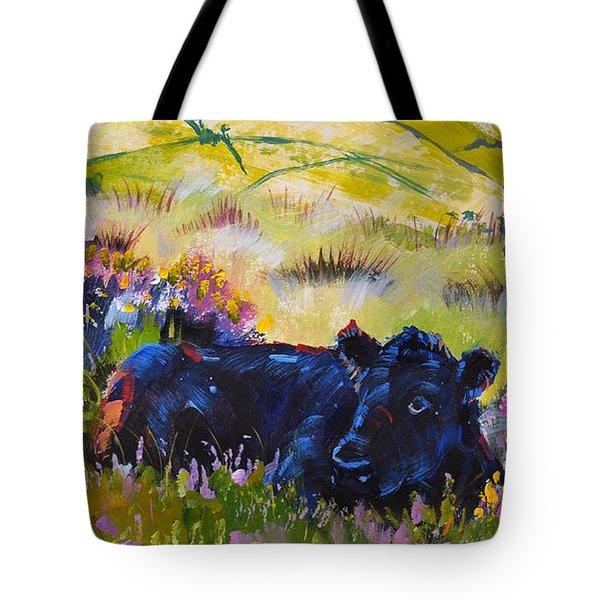 Cow Lying Down Among Plants Tote Bag