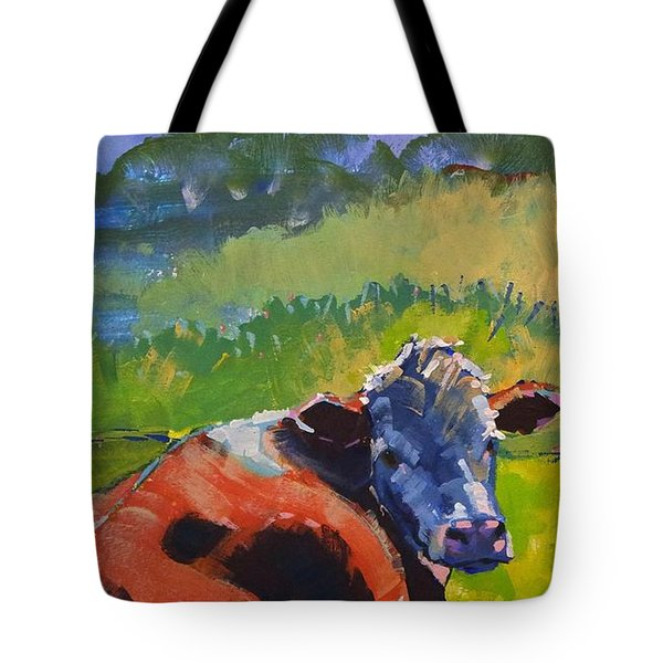 Cow Lying Down On A Sunny Day Tote Bag