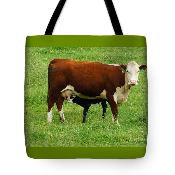 Cow With Calf Tote Bag