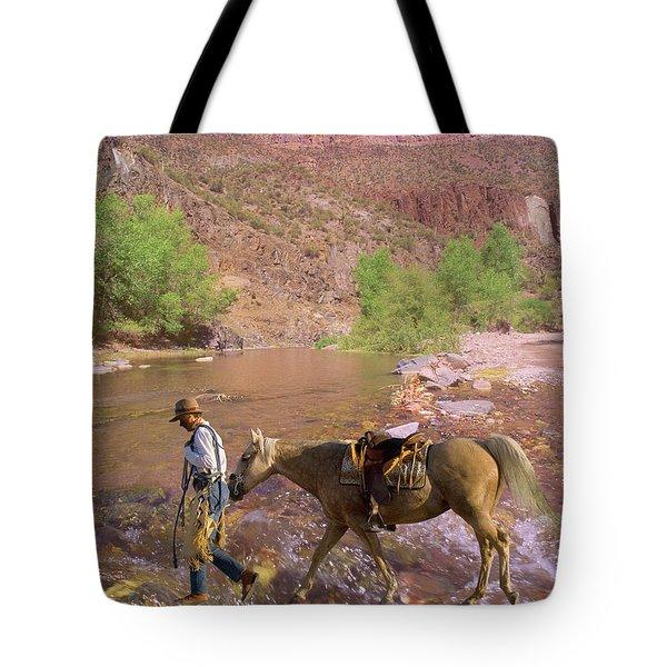 Cowboy And Horse Tote Bag