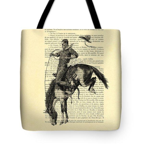 Cowboy And Horse, Western Art Tote Bag
