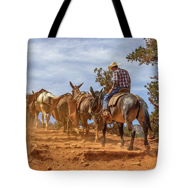 Cowboy And Mule Train On The South Kaibab Trail In The Grand Canyon Tote Bag