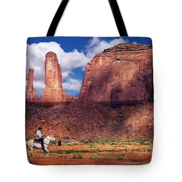 Tote Bag featuring the photograph Cowboy And Three Sisters by William Lee
