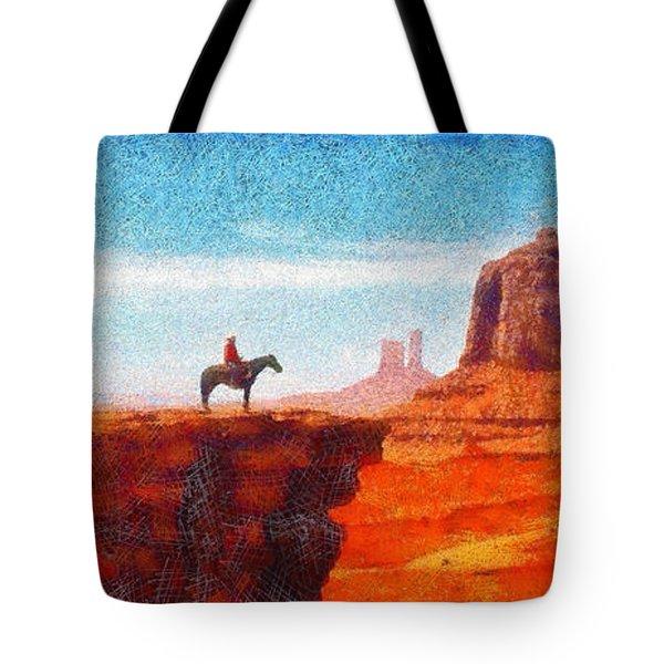 Cowboy At Monument Valley In Utah - Da Tote Bag