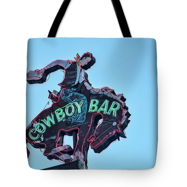 Cowboy Bar Vintage Neon Sign Photograph Western Wall Art Tote Bag