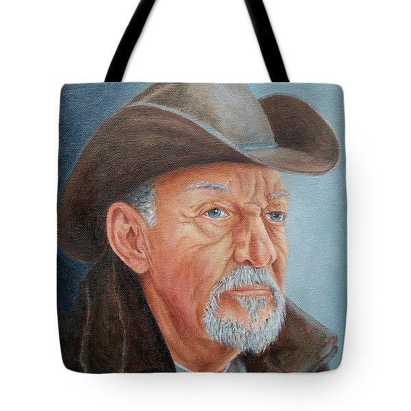 Tote Bag featuring the painting Cowboy Bob by Susan DeLain