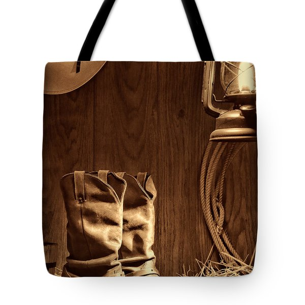 Cowboy Boots At The Ranch Tote Bag by American West Legend By Olivier Le Queinec