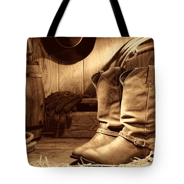 Cowboy Boots In A Ranch Barn Tote Bag