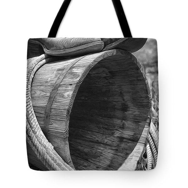 Cowboy Boots In Black And White Tote Bag