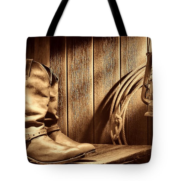 Cowboy Boots In Old Barn Tote Bag