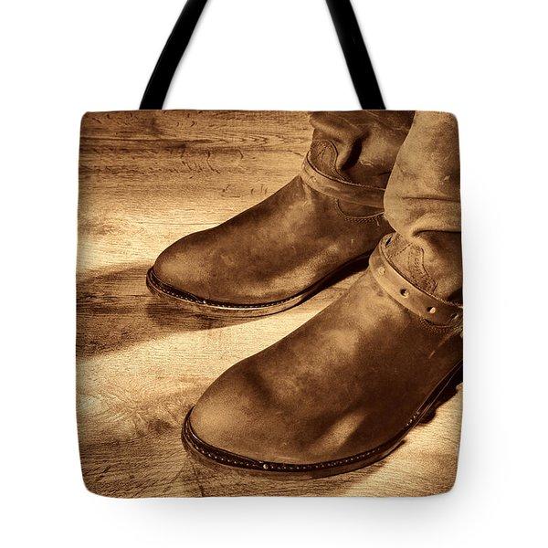 Cowboy Boots On Saloon Floor Tote Bag