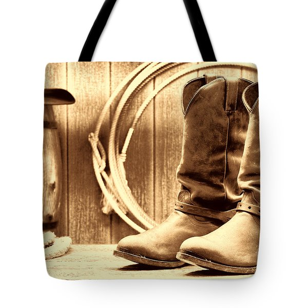 Cowboy Boots On The Deck Tote Bag