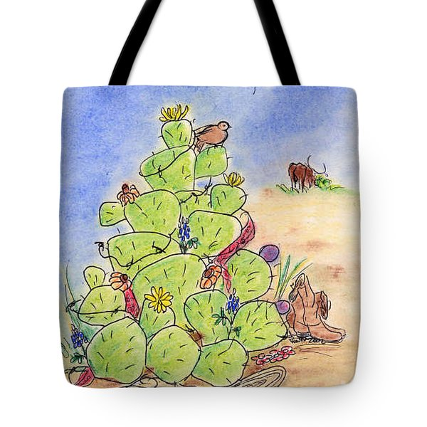 Cowboy Christmas Tote Bag by Vonda Lawson-Rosa