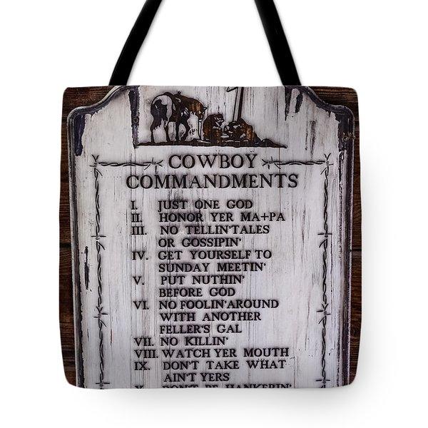 Cowboy Commandments Tote Bag