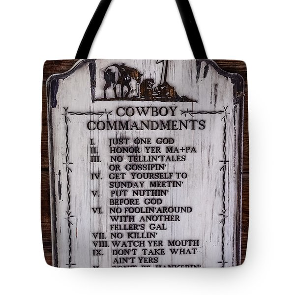 Cowboy Commandments Tote Bag