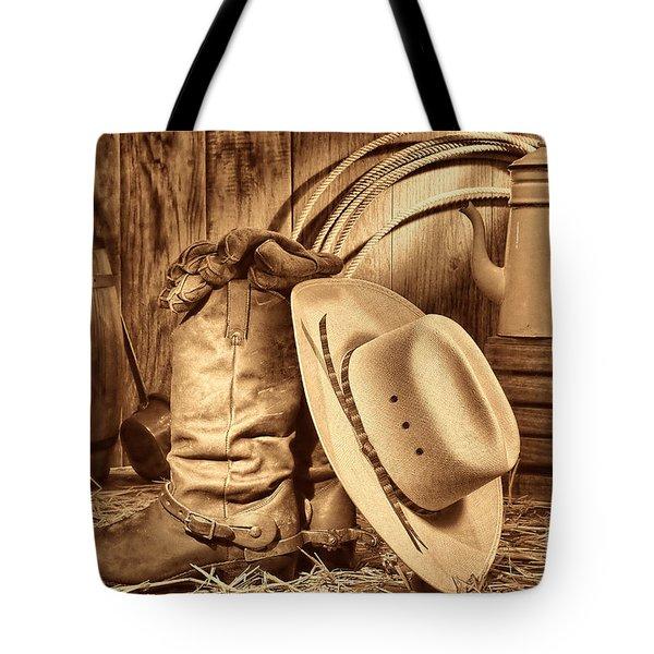 Cowboy Gear In Barn Tote Bag