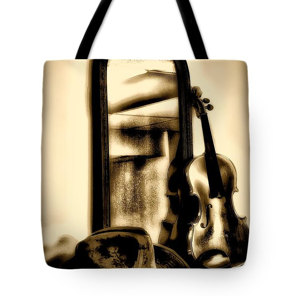 Cowboy Hat And Fiddle Tote Bag by Bill Cannon
