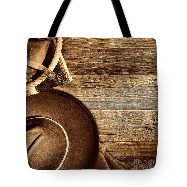 Cowboy Hat And Gear On Wood Tote Bag