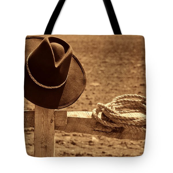 Cowboy Hat And Rope On A Fence Tote Bag