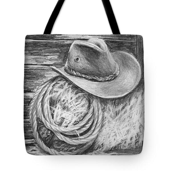 Cowboy Hat In A Barn Tote Bag by Nolan Clark
