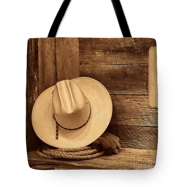 Cowboy Hat In Town Tote Bag by American West Legend By Olivier Le Queinec