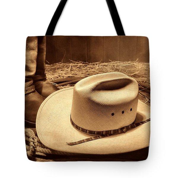 Cowboy Hat On Barn Floor Tote Bag