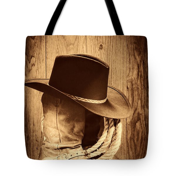 Cowboy Hat On Boots Tote Bag