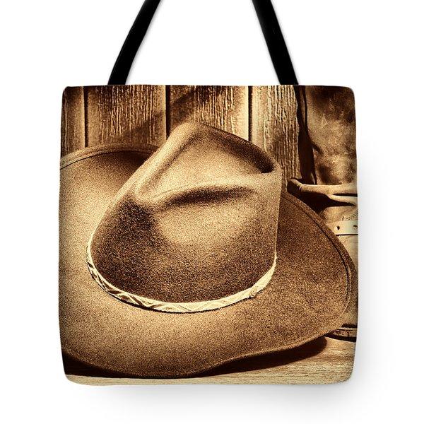 Cowboy Hat On Floor Tote Bag