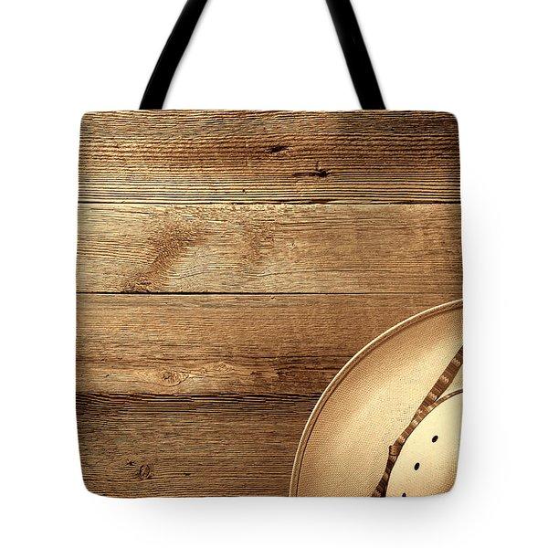 Cowboy Hat On Wood Table Tote Bag