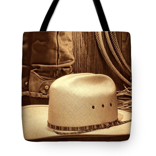 Cowboy Hat With Western Boots Tote Bag
