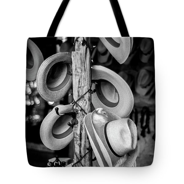 Tote Bag featuring the photograph Cowboy Hats At Snail Creek Hat Company by David Morefield