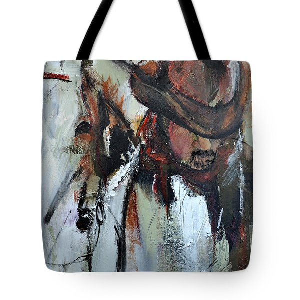 Tote Bag featuring the painting Cowboy II by Cher Devereaux