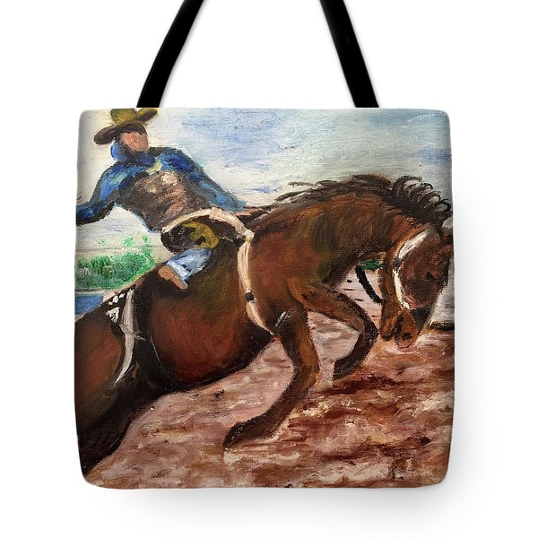 Cowboy In A Rodeo Tote Bag