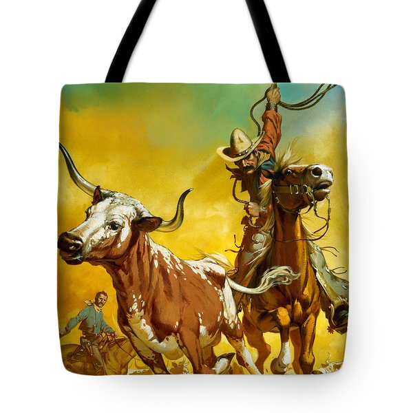 Cowboy Lassoing Cattle  Tote Bag