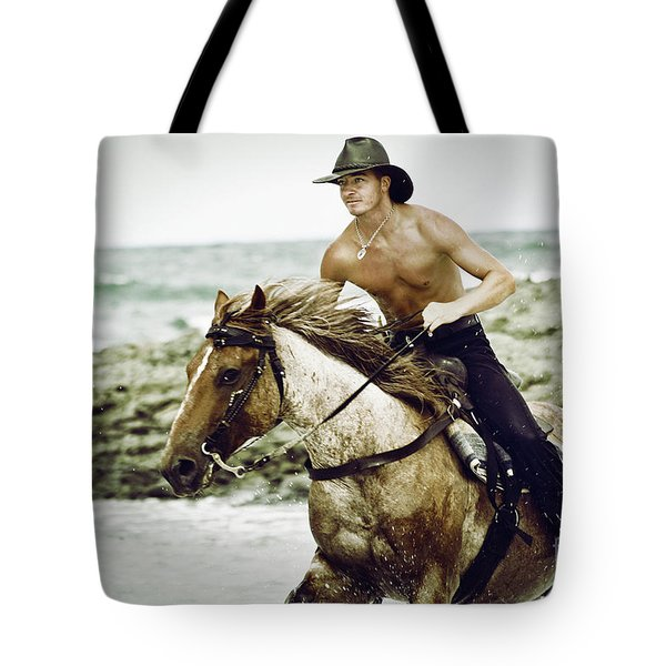 Cowboy Riding Horse On The Beach Tote Bag