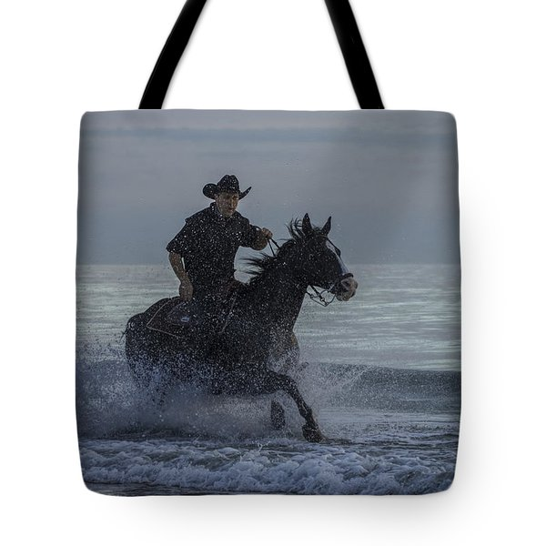 Cowboy Riding In The Surf Tote Bag