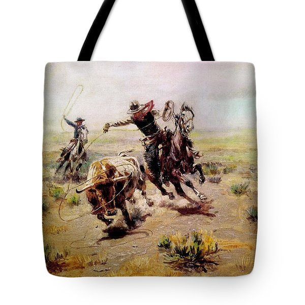 Cowboy Roping A Steer Tote Bag