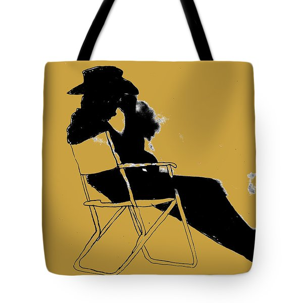 Tote Bag featuring the mixed media Cowboy Silhouette by W And F Kreations
