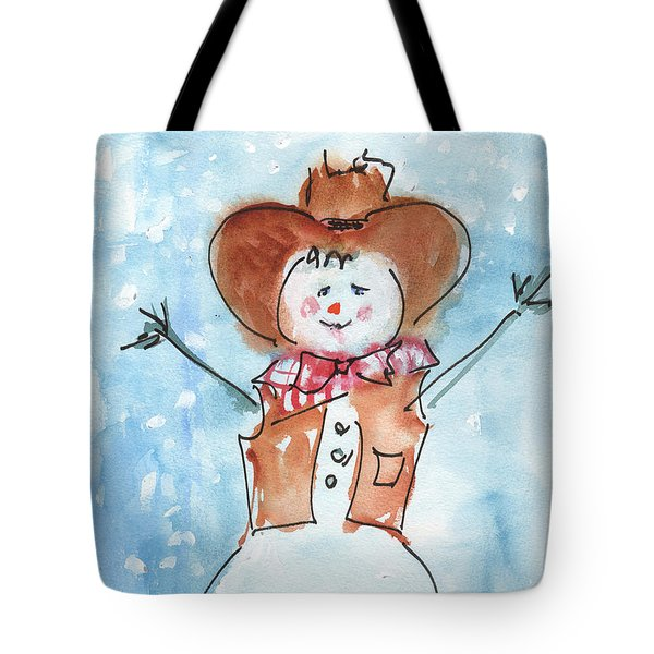 Cowboy Snowman Watercolor Painting By Kmcelwaine Tote Bag