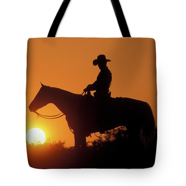 Cowboy Sunset Silhouette Tote Bag
