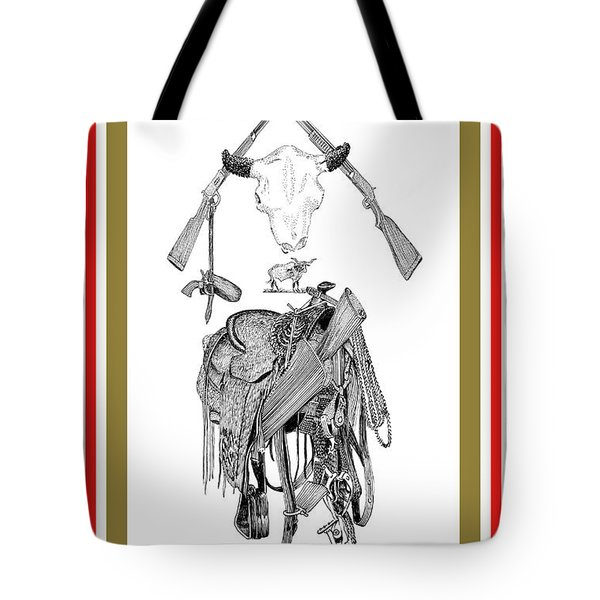 Tote Bag featuring the drawing Cowboy Tribute by Jack Pumphrey