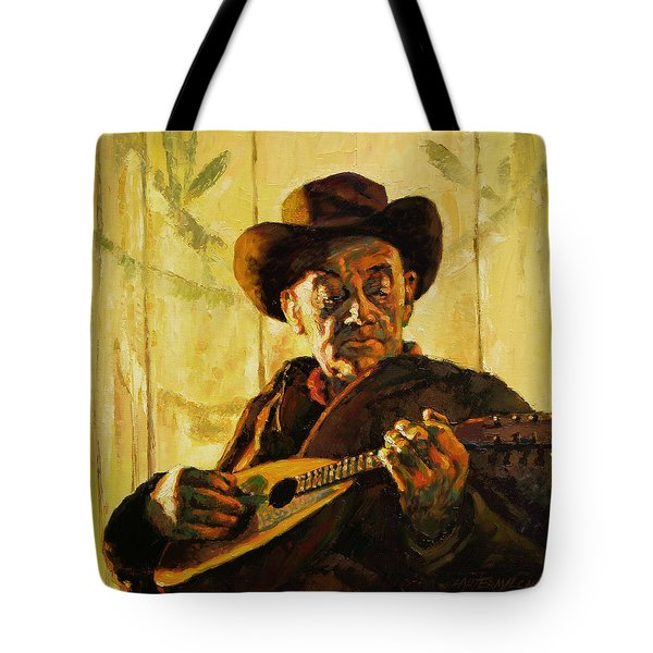 Cowboy With Mandolin Tote Bag by John Lautermilch