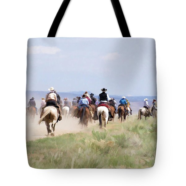 Tote Bag featuring the digital art Cowboys And Cowgirls Riding Horses At The Sombrero Horse Drive by Nadja Rider