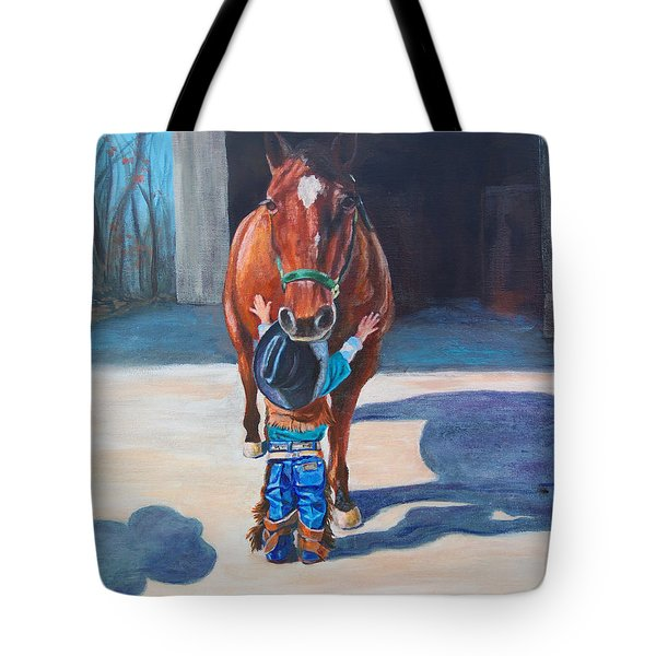 Tote Bag featuring the painting Cowboy's First Love by Karen Kennedy Chatham