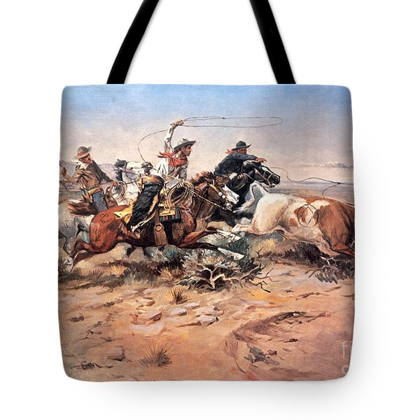 Cowboys Roping A Steer Tote Bag