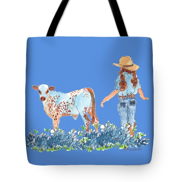 Cowgirl Calf In The Bluebonnets Pe005 Tote Bag