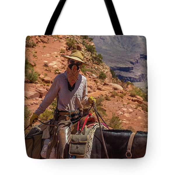 Cowgirl Leading A Mule Train On The South Kaibab Trail Tote Bag