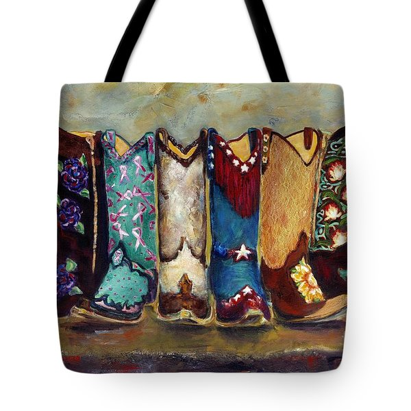 Cowgirls Kickin The Blues Tote Bag by Frances Marino